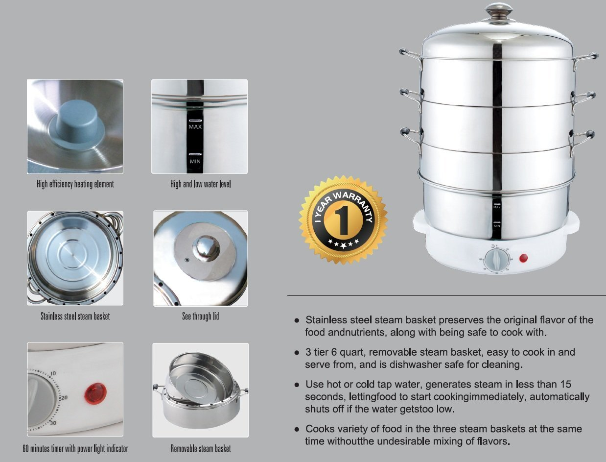 Stainless Steel Electric Vegetable Steamer ~ Secura tier stainless steel food steamer quarts rice
