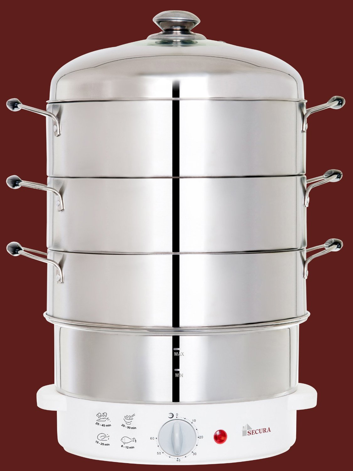 3 Tier Electric Steamer ~ Secura tier stainless steel food steamer quarts rice