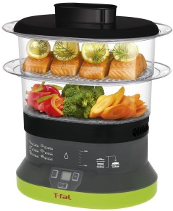 T-fal 2-Tier Electric Plastic Food Steamer Small Balanced Living Compact 4-Quart VC133851