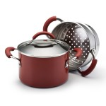 KitchenAid 3-quart Aluminum Saucepot with Stainless Steel Steamer Insert Red