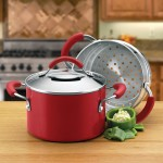 Multi purpose red KitchenAid 3-quart saucepot with stainless steel steamer insert