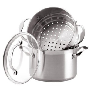 KitchenAid 3 quart covered saucepot and steamer set insert stainless steel