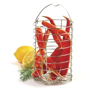 crab in Norpro grip-EZ stainless cooker steamer asparagus