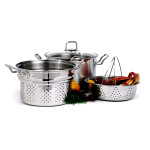 Norpro KRONA 8 Quart Stainless Steel Multi Pasta Pot Cooker Steamer