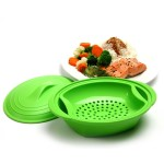 Norpro Microwave Silicone Vegetable Steamer with Insert, Green