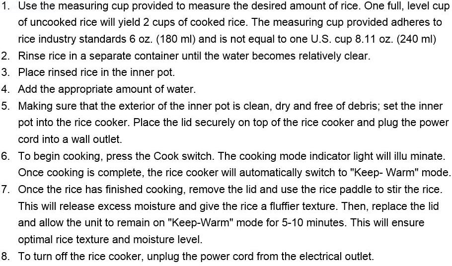 how to use and cook rice in Heaven Fresh HF 1011 NaturoPure 10 cup rice cooker