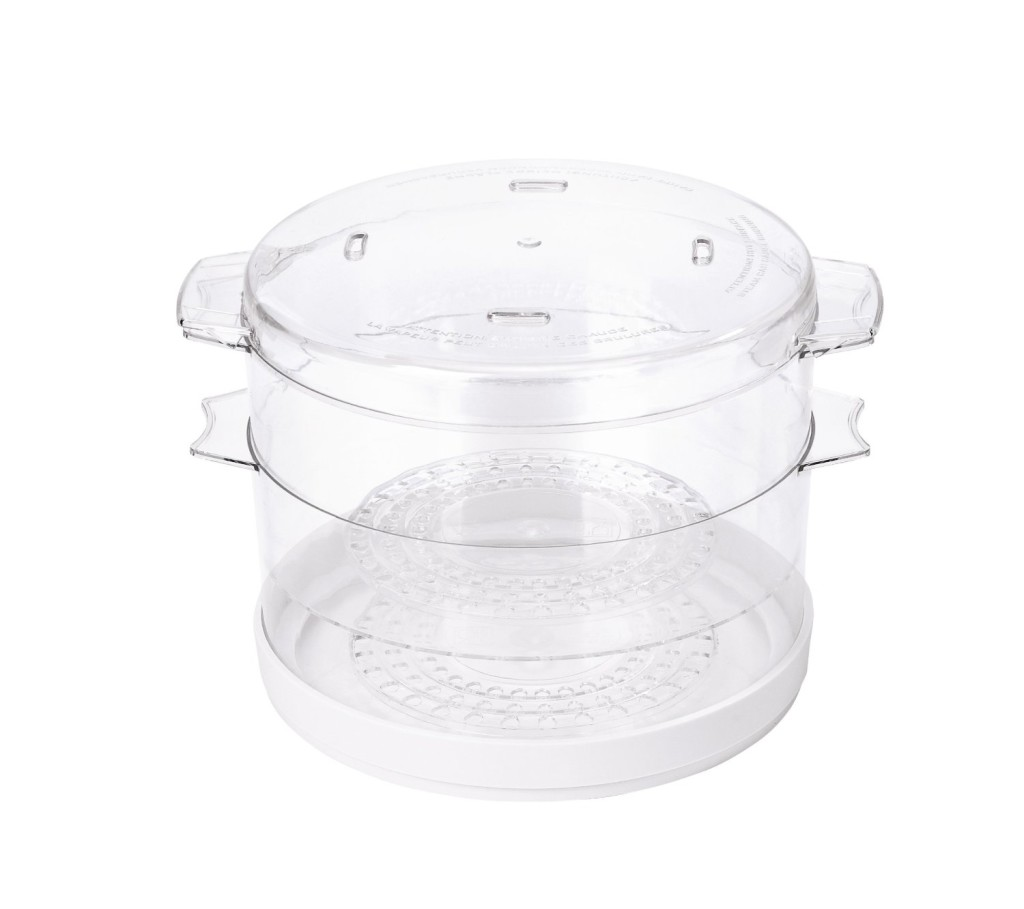 2 collapsible tiers of Oster CKSTSTMD5-W 5-quart food steamer