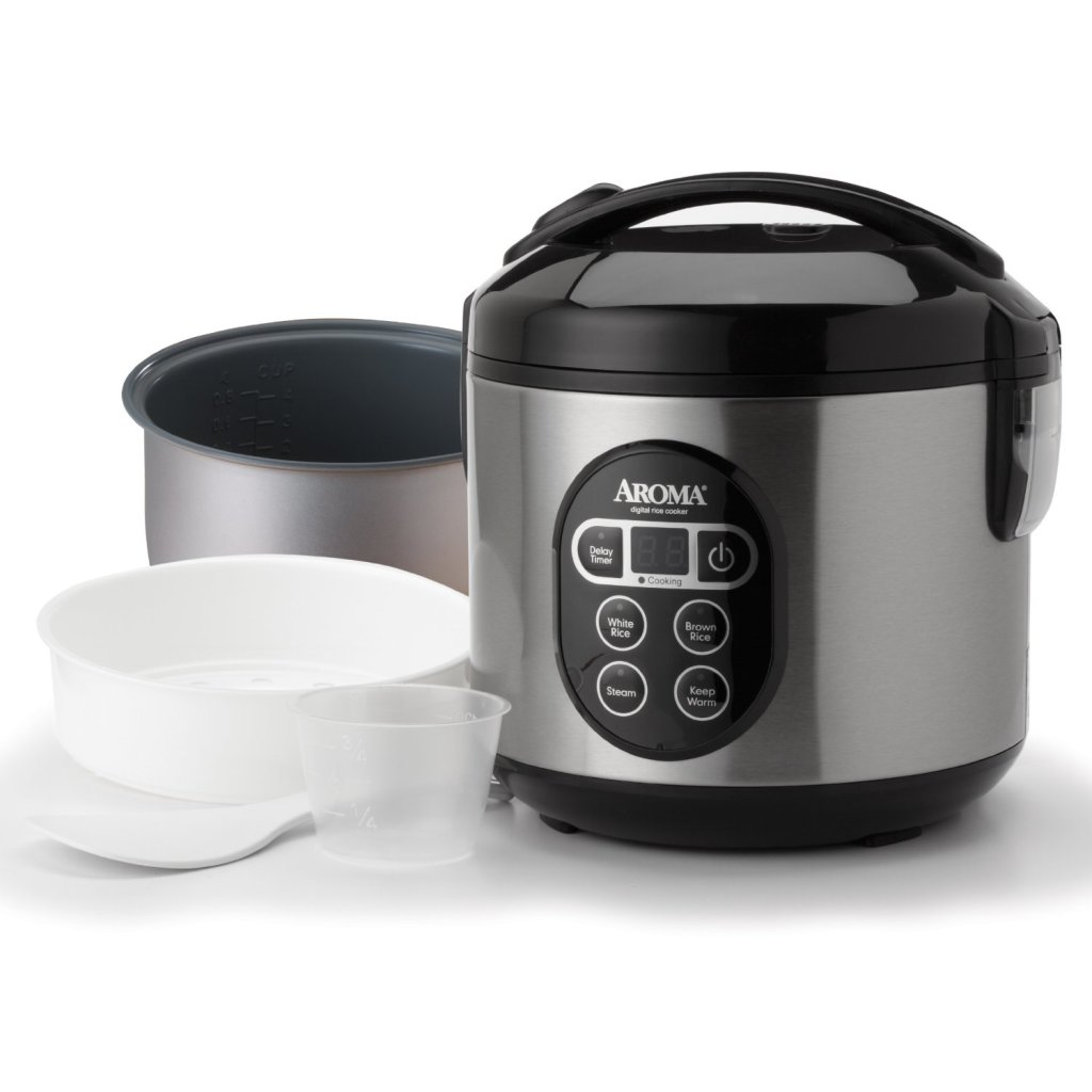 Aroma 8-Cup digital rice cooker & food steamer cooking pot cup and spatula