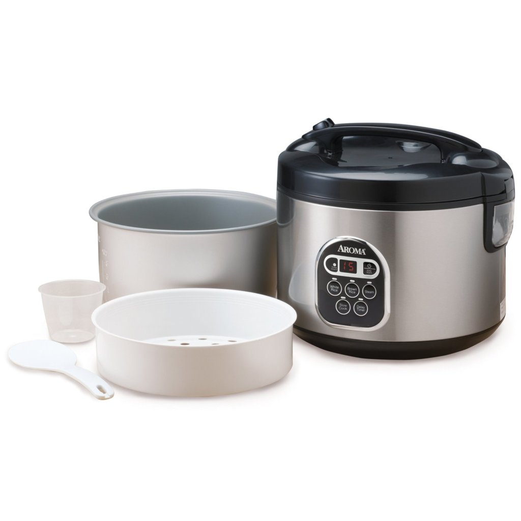 Aroma stainless steel 20-Cup digital rice cooker & food steamer accessories