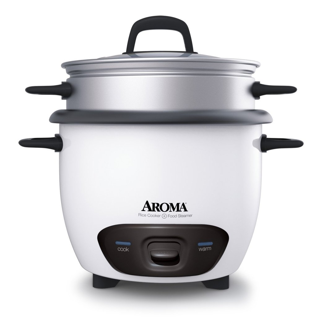 Aroma white 6-cup pot style rice cooker and food steamer