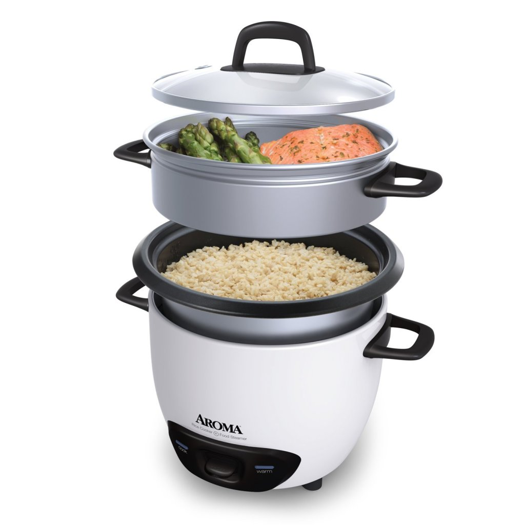 Aroma white 6-cup pot style rice cooker and food steamer tray
