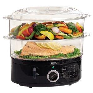 BELLA 2 tier black 13872 food steamer egg cooker