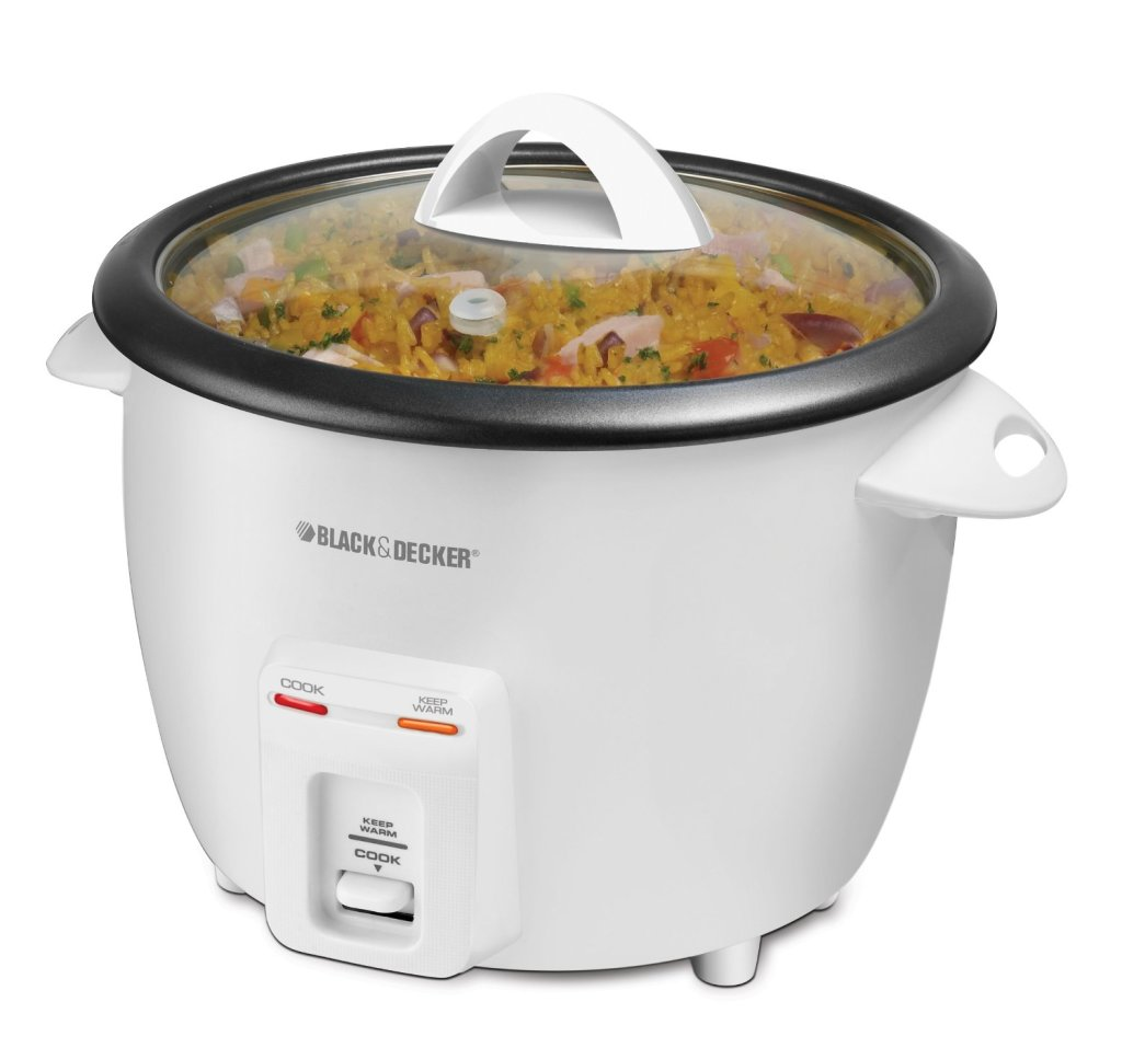 Black & Decker white 14-cup rice cooker feature image