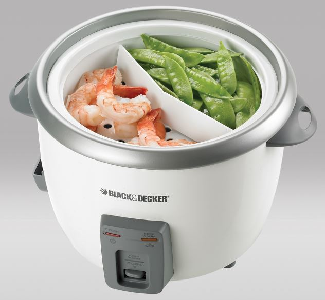Use Black & Decker 28-cup white rice cooker as a steamer