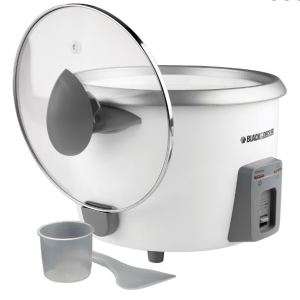Black & Decker 28-cup white rice cooker with glass lid cup