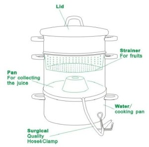 Cook N Home NC-00256 11-quart stainless-steel juicer steamer detailed image