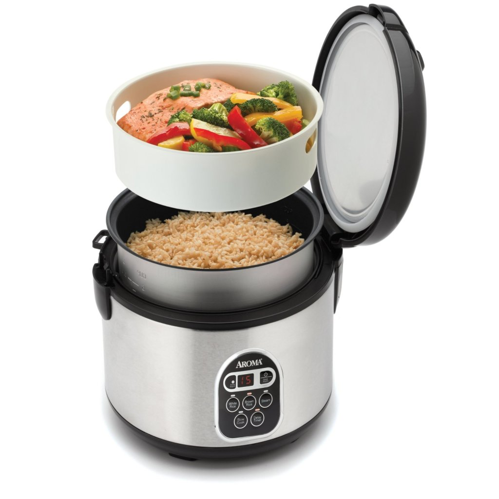 Cook rice and fish in Aroma stainless steel 20-Cup digital rice cooker & food steamer