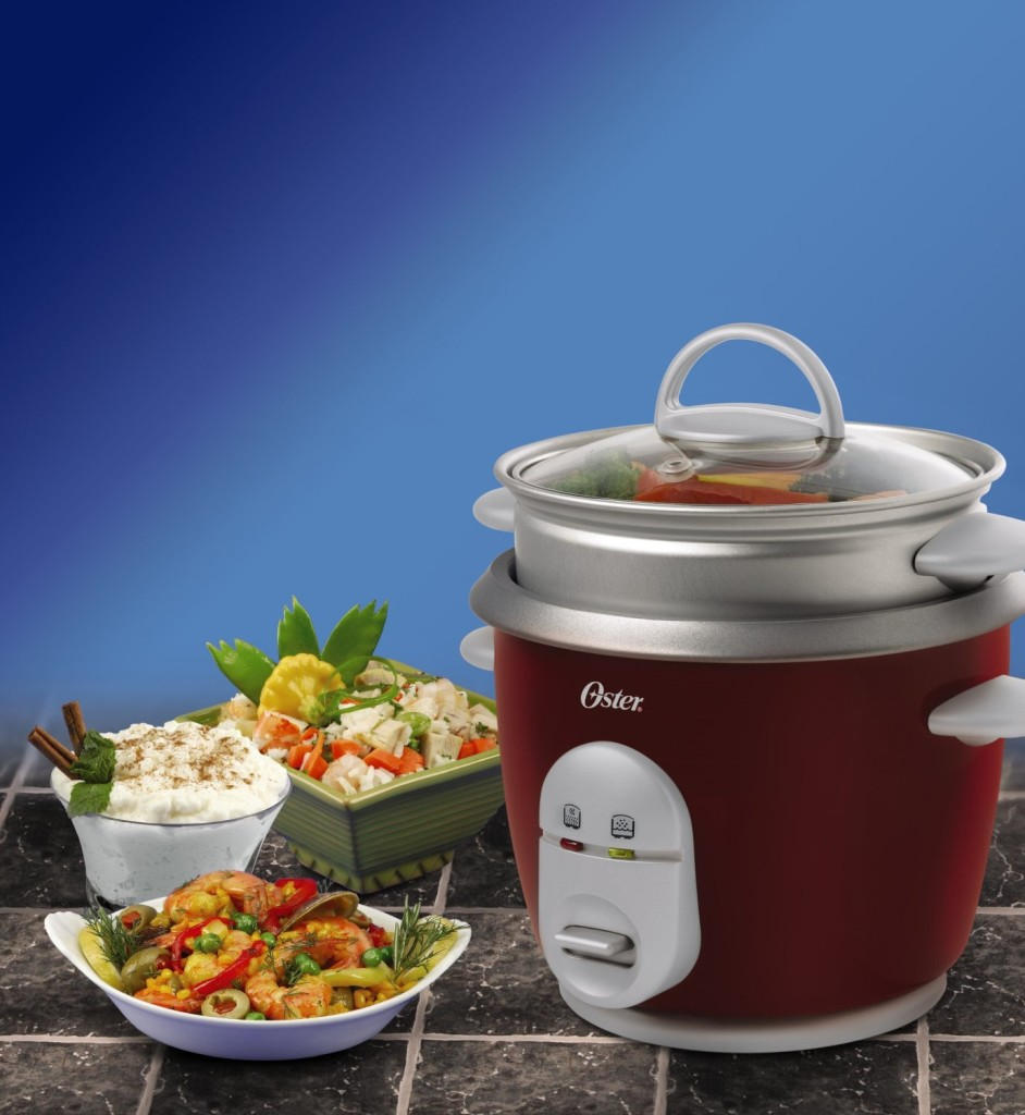 Oster red 4722 6-cup cooked rice cooker feature image