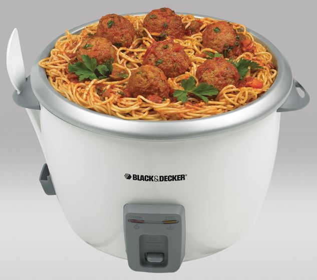cook pasta in Black & Decker 28-cup white rice cooker