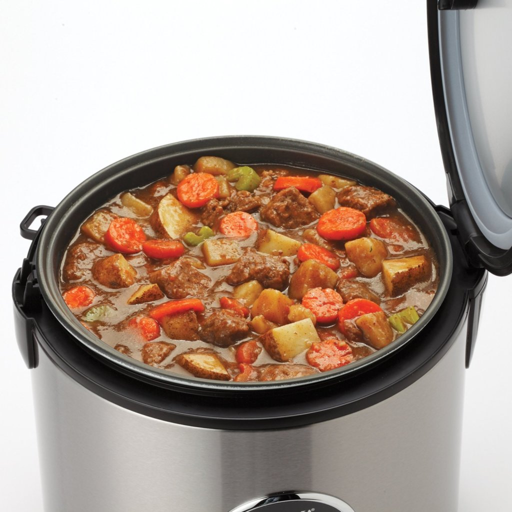 Slow cooking stew in Aroma stainless steel 20-Cup digital rice cooker & food steamer