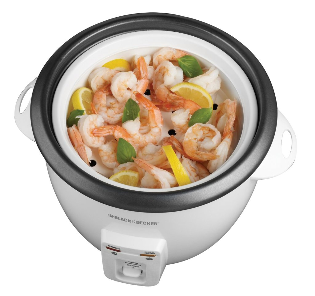 Steaming shrimp in Black & Decker 14-cup rice cooker