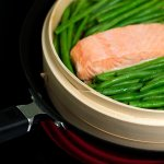 steamed salmon with green beans in Joyce Chen 10-inch bamboo steamer