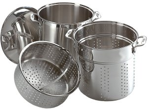 All Clad stainless steel 12-quart stock pot with steamer basket pasta insert