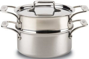 All-Clad brushed d5 stainless steel 5-ply steamer casserole