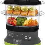 T-fal 2-tier electric plastic food steamer for vegetables chicken fish