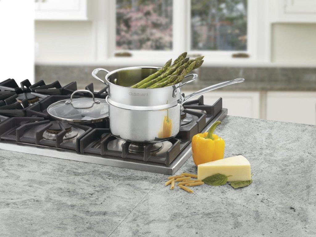 multi purpose Cuisinart stainless steel 3-piece 3-quart steamer set