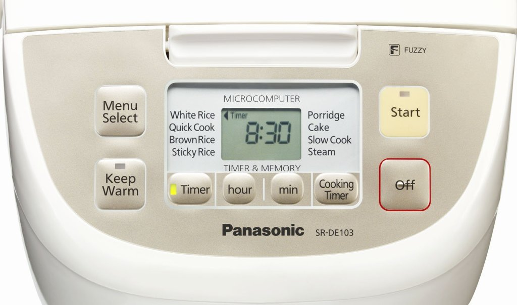 Panasonic 5-cup Fuzzy Logic rice cooker with micro computerized cooking control panel