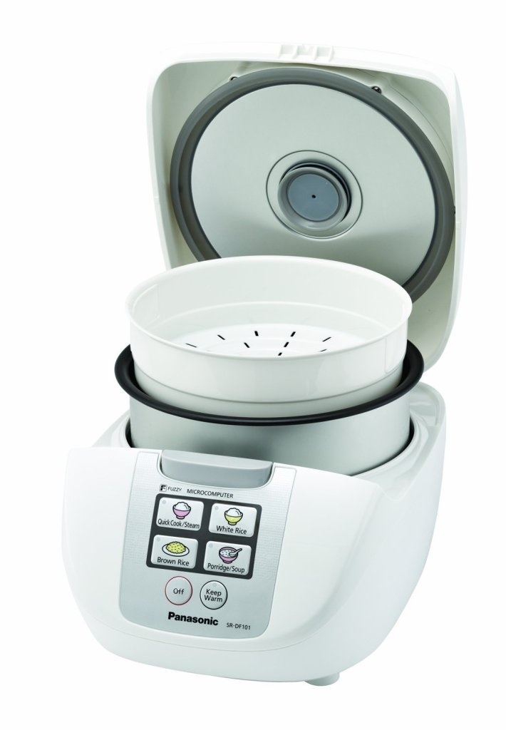 Panasonic SR-DF181 10-cup Fuzzy Logic rice cooker with nonstick pot and steam basket
