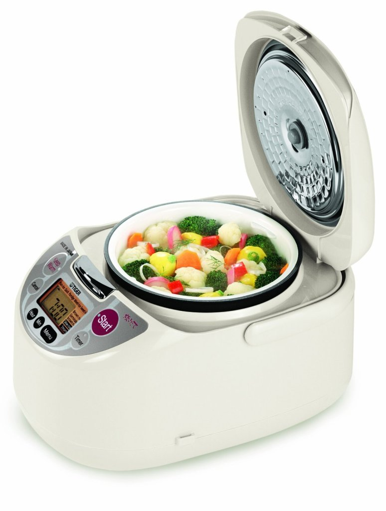 Tiger JAH-T18U Micom 10-Cup rice cooker steams vegetables while rice cooks below