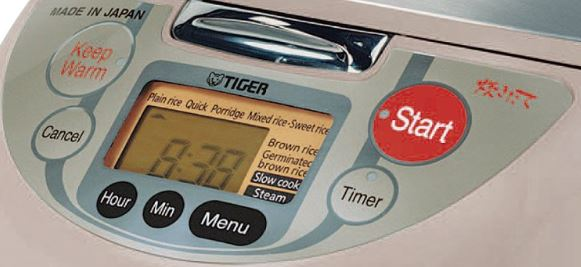 Tiger JBV-A10U Micom 5.5-Cup Rice Cooker LED panel with micro computerized controls