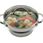 Anolon 77447 stainless universal food steamer insert with a see through glass lid