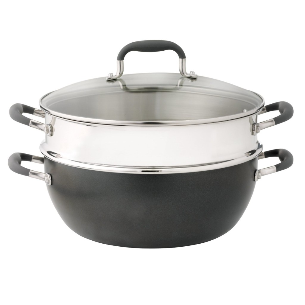 Anolon Advanced hard anodized 7.5-qt pan with stainless steel steamer insert