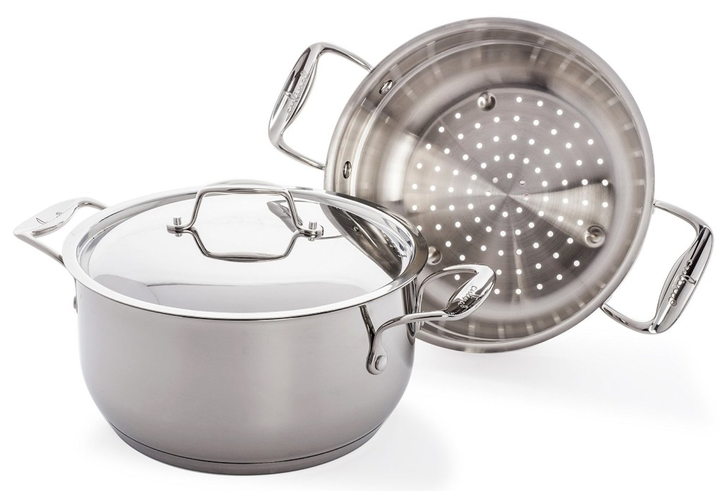 Culina 18-10 stainless steel pot with steamer insert