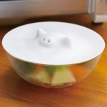 Marna White Piggy Microwave Silicone Steamer Cover Lid 8.5 inches