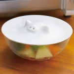 Marna White Piggy Microwave Silicone Steamer Lid Cover 6.9 inch