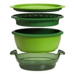 Tupperware 2 Tier Microwave Plastic Smart Steamer Green
