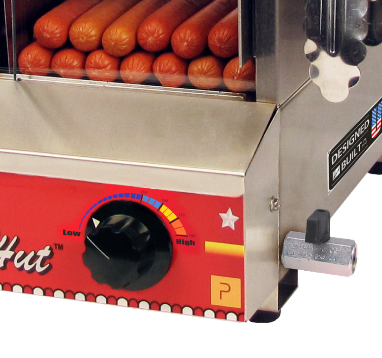Commercial Paragon Hut hot dog steamer low to high dial