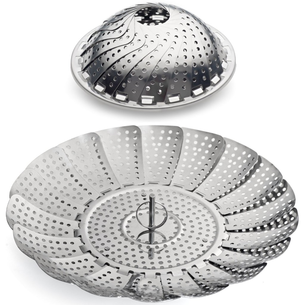 sunsella stainless steel steamer basket collapses and expands like a flower