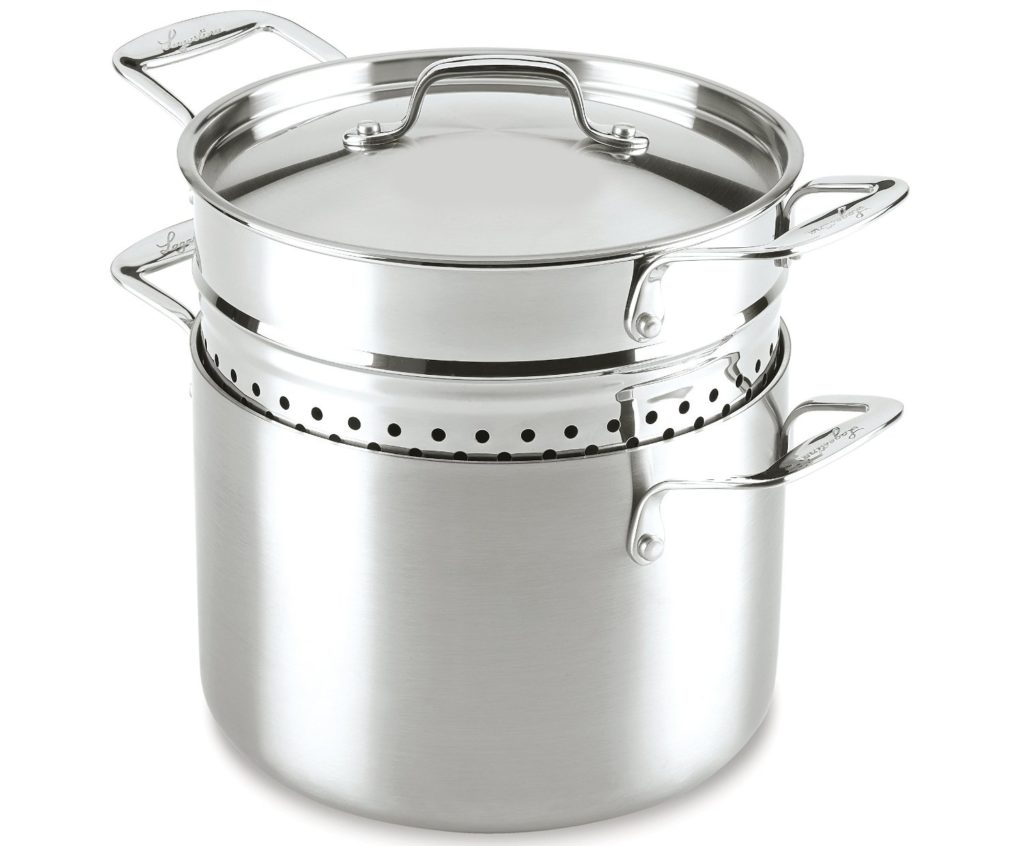 Lagostina 6-Quart Stainless Steel 3 ply Pasta Pot with pasta strainer insert