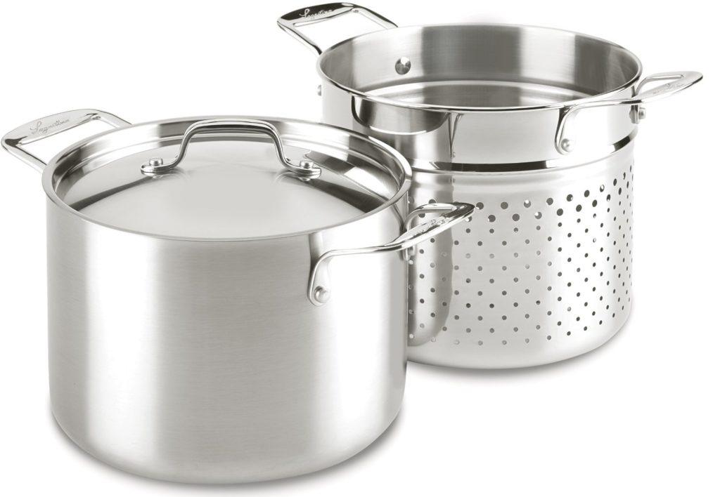 Lagostina 6-quart stainless steel pasta pot with strainer prepares 1 lb of pasta