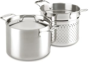 Lagostina 6-quart stainless steel pasta pot with strainer prepares 1 lb of pasta