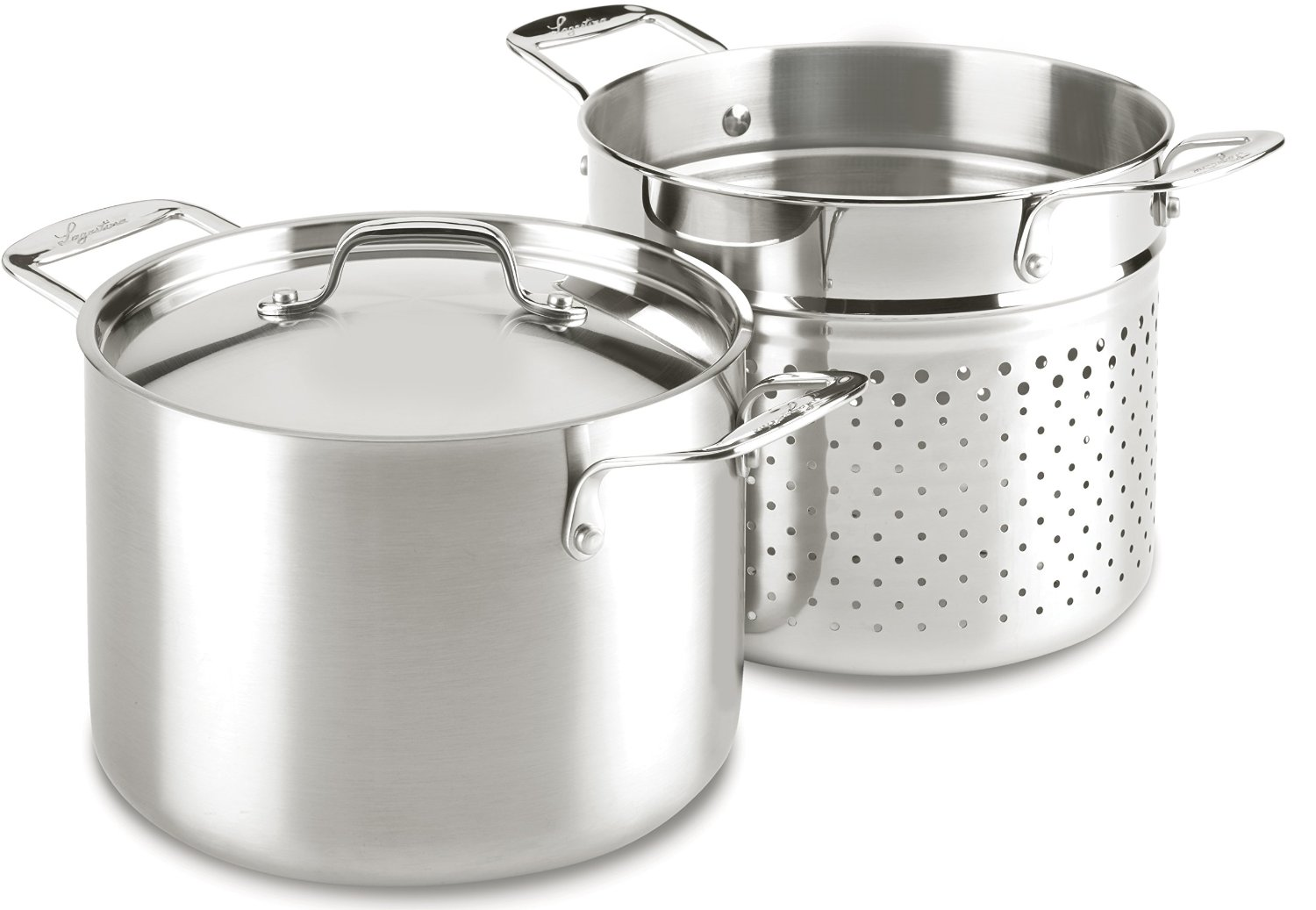 Lagostina quart stainless steel pasta pot w strainer