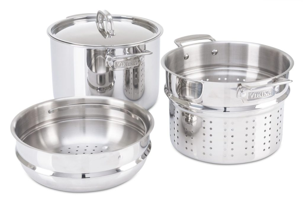 Viking 8 quart Stainless Steel Pasta Pot with Strainer Steamer featured image