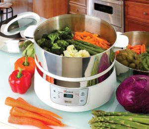 Euro Cuisine Electric Stainless Steel Food Steamer with removable tiers