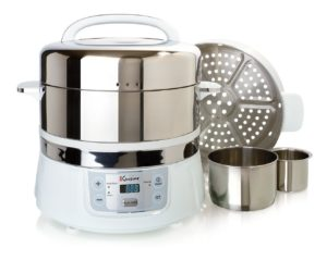 Euro Cuisine FS2500 Electric Stainless Steel Food Steamer with 2 tiers