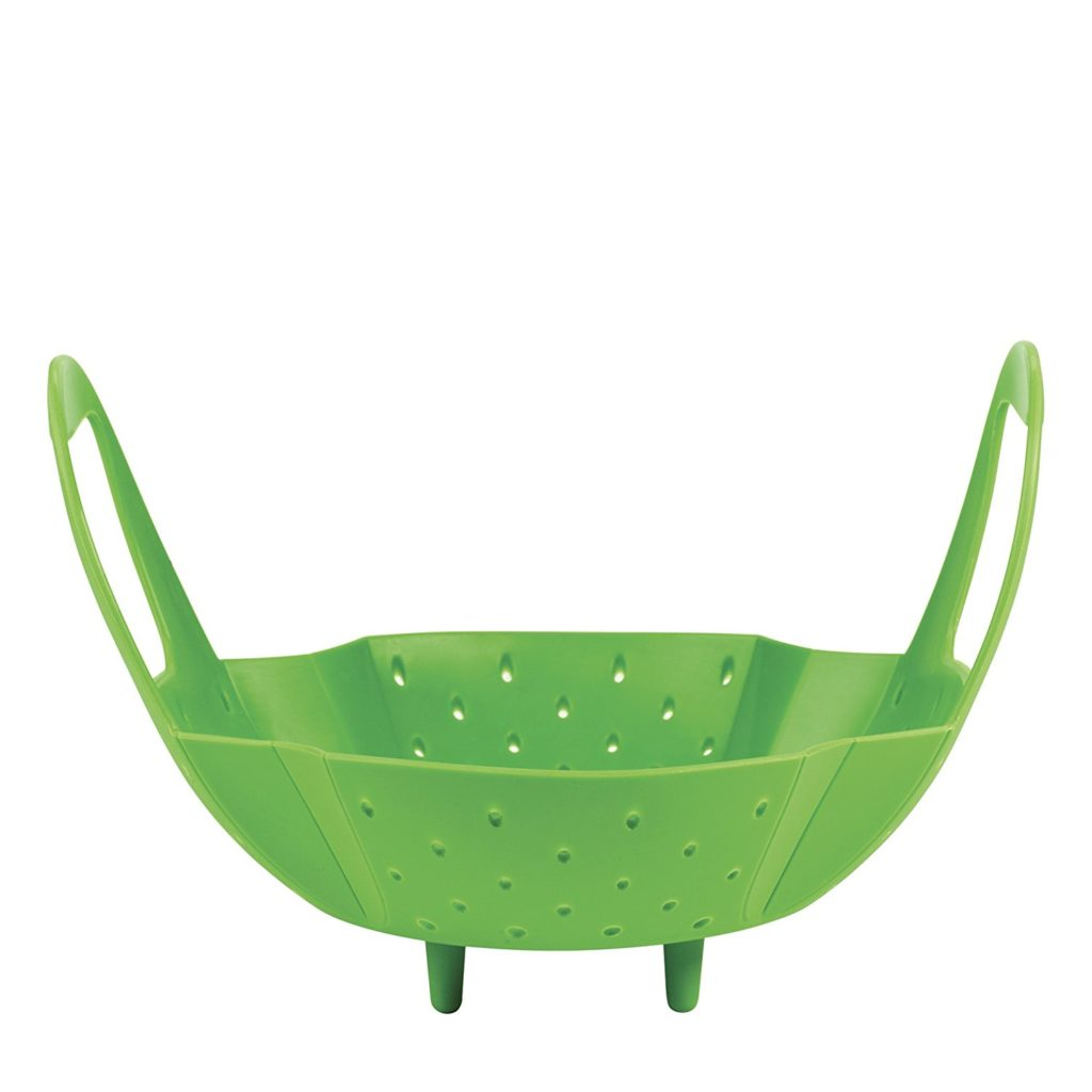 deep silicone steamer basket with side handles